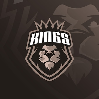 Lion mascot logo with modern illustration