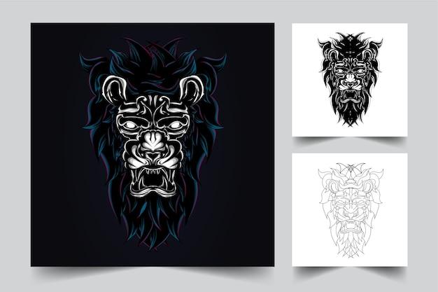 ライオンのマスコットのロゴ