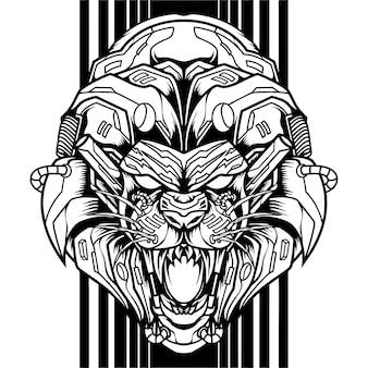 Lion mecha cyborg silhouette Premium Vector
