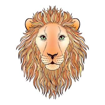Морда льва на белом.