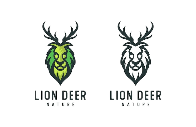 Lion natural logo, deer leaf logo  illustration