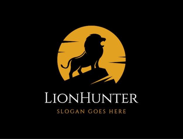 Lion in the night of moonlight logo icon illustration