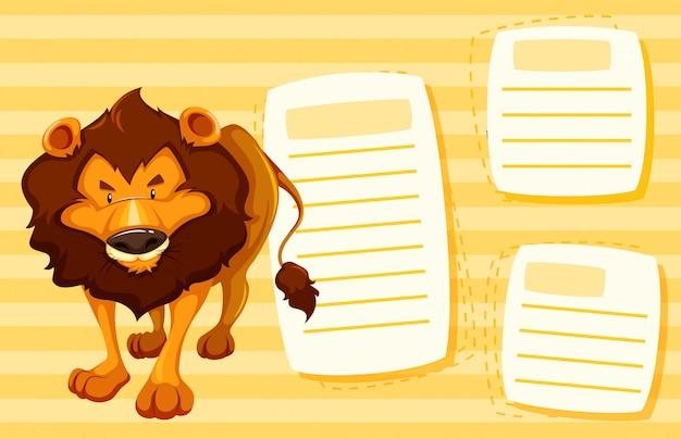 Lion on note template