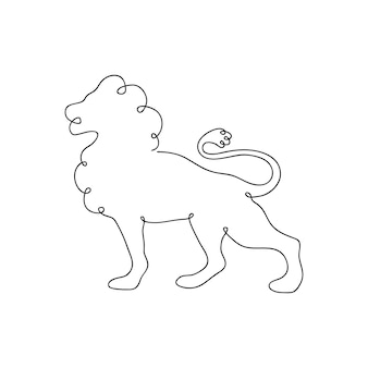 Lion one line drawing. continuous line. hand-drawn illustration for logo, emblem. vector.