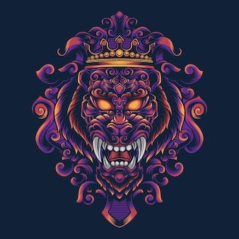 Lion ornament vector design illustration for t-shirt