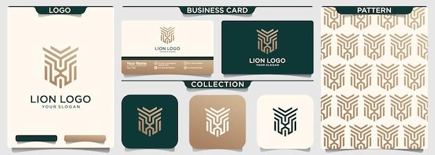 ライオンのアウトラインのロゴと名刺