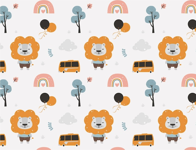 Lion pattern for baby shower