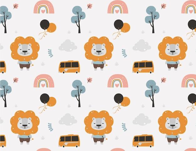 베이비 샤워 사자 패턴