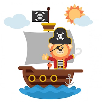 Lion pirate sailing on a boat