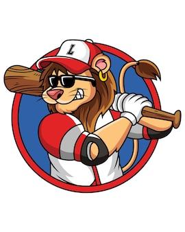 Лев играет в бейсбол с прохладным лицом изолированного на белом
