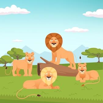 Lion pride landscape. wild fur animal hunters illustration