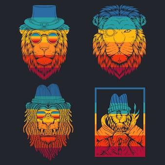 ライオンのレトロなイラスト