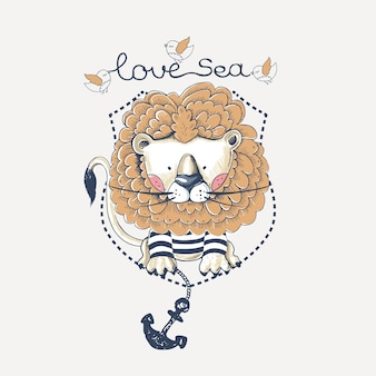 Lion sailor hand drawn  can be used for kids or babys shirt design fashion