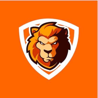 Lion security icon with shield