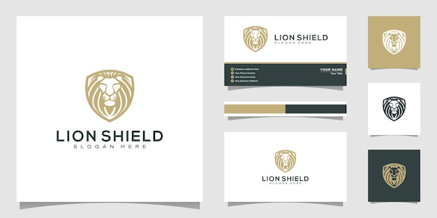 Lion shield animal logo design vector and business card