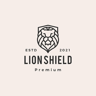 Лев щит битник старинный логотип значок иллюстрации