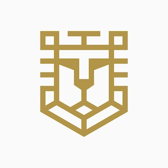 Lion shield logo design concept
