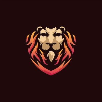 Lion shield logo illustration