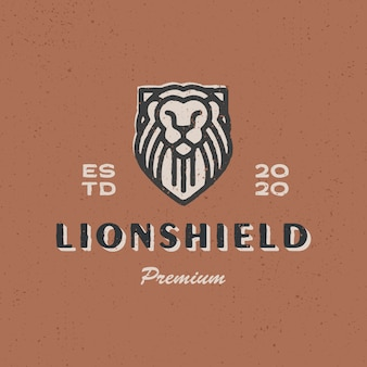 Lion shield vintage logo  icon illustration