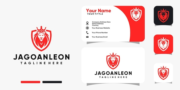 Lion shield with crown logo and business card design vector template