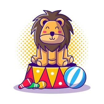 ライオンショーサーカス漫画イラスト。サーカスとお祭りのアイコンコンセプト白分離。フラット漫画スタイル