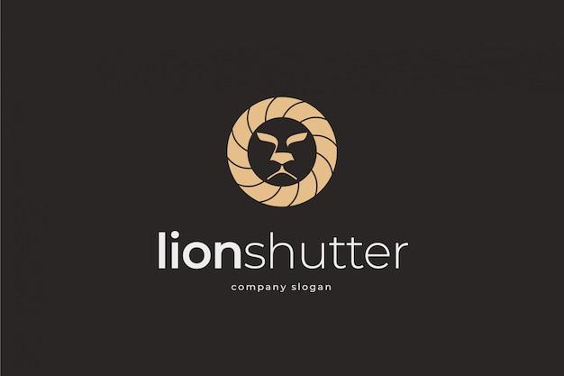 Шаблон логотипа затвора льва