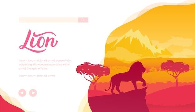 中のサバンナのライオンのシルエット。大きな猫が崖の上に立っています。木々、山々のあるアフリカの風景。