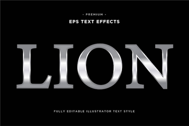 Lion silver text style - silver text effect