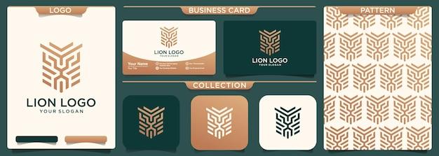 사자 간단한 라인 로고 디자인