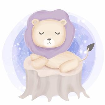 Lion sit on tree and feel sleepy