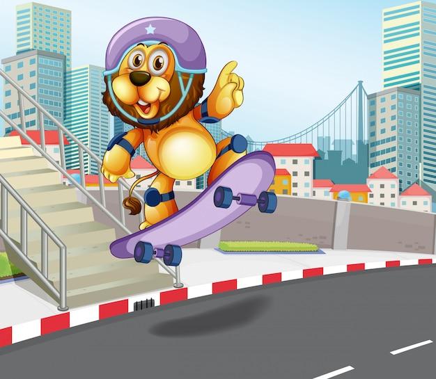Lion skateboarding in urban city
