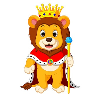 Lion standing with crown