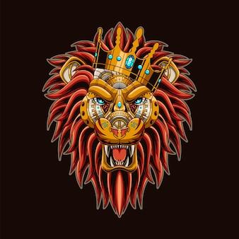 ライオンスチームパンクなイラストとtシャツのデザイン