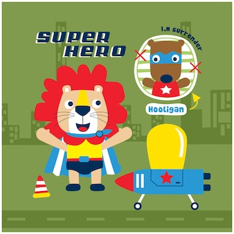 Lion the super hero funny animal cartoon