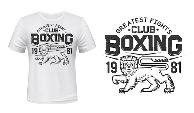 Lion t-shirt print mockup, boxing fight club team emblem