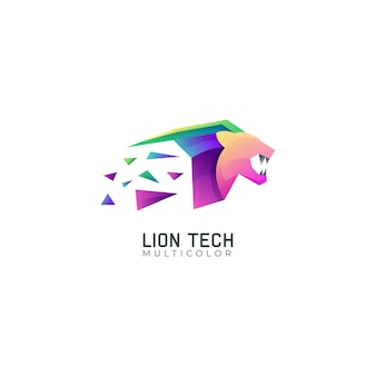 Lion tech gradient multicolor logo template