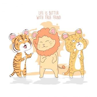 Lion, tiger, leopard, cat cute friend