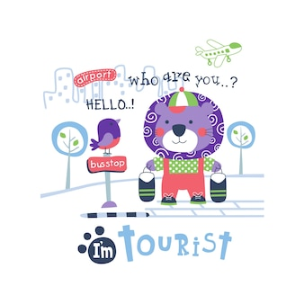 Lion the tourist funny animal cartoon,vector illustration