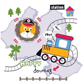 Lion and train funny animal cartoon