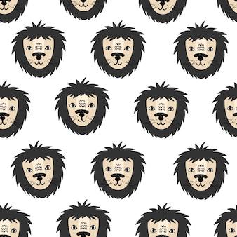 Lion vector seamless pattern scandinavian style