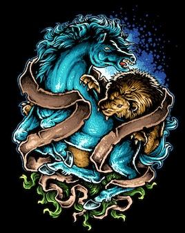 Лев против лошади татуировки дизайн векторная иллюстрация