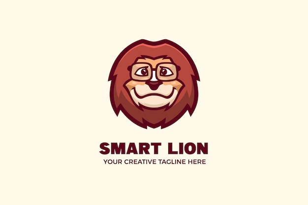 Шаблон логотипа персонажа талисмана льва в очках