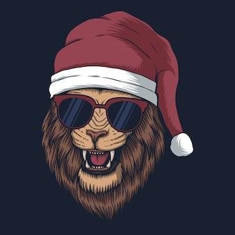 クリスマスにサンタの帽子をかぶったライオン