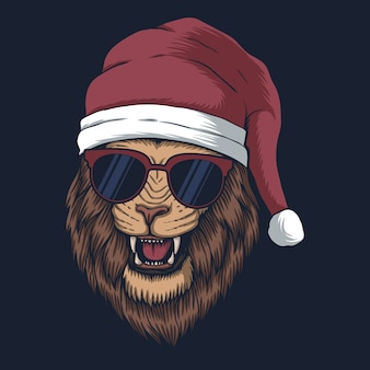 Lion wearing a santa hat for christmas