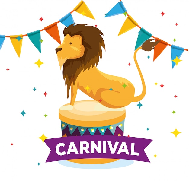 Lion wild animal with party banner to festival
