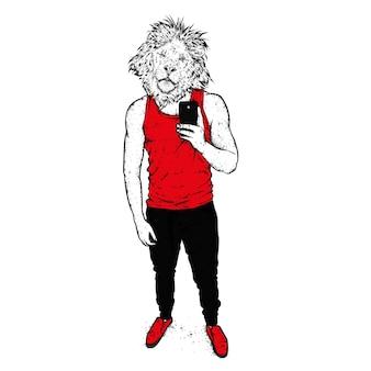 アスリートの男性の体を持つライオン
