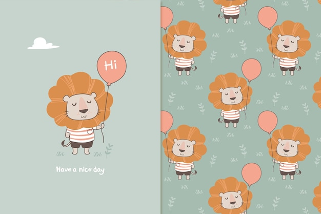 Lion with a balloon seamless pattern