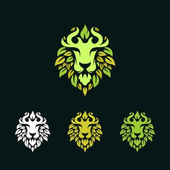 Lion with leaves logo