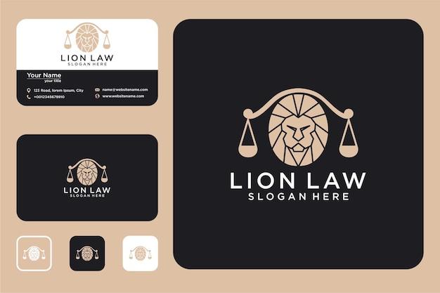 법률 개념 로고 디자인 및 명함이 있는 사자