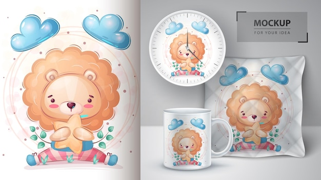 Lion with star poster and merchandising vector eps 10